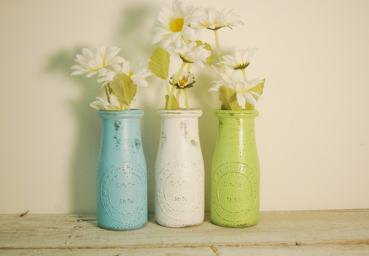 Painted milk bottle decor table decor country decor fall for Home decor using plastic bottles