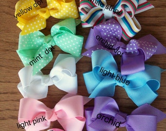 """4  Toddler Boutique Clippie Bows - You pick your favorite colors, 7/8"""" Quality Ribbon"""