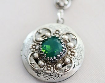 Green Opal Locket, Silver Locket,Jewelry,Necklace, Birthstone Locket, Rhinestone Locket,Flower,Wedding Necklace,bridesmaid