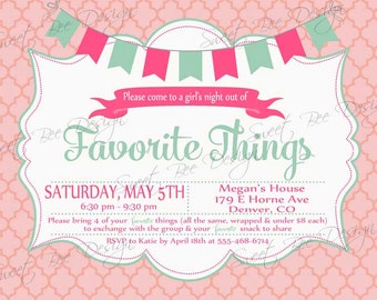 Favorite Things Party Invitation - Custom Printable