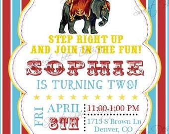 Circus Birthday Invitation, Circus Baby Shower Invitation
