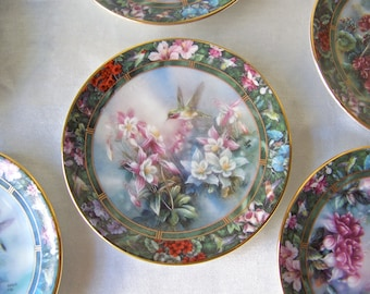 Vintage Hummingbird Plate Treasury Lena Liu's Mini Plate Collection Signed Lena Liu 1994