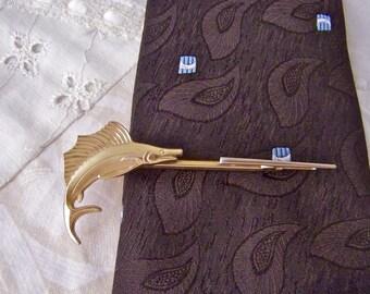Vintage Marlin Tie Bar Hickox Tie Clip Adjustable Tie Bar Vintage Guy Mens Jewelry Vintage 1960s
