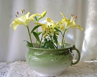Antique Chamber Pot Doulton Burslem England Ca 1891Pottery Green Pot Victorian Chamber Pot Boudoir Vanity Decor