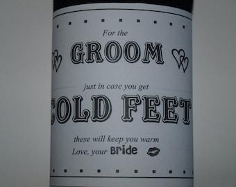 Groom Sock Wrap, LABEL ONLY,  Cold Feet socks Label Wedding Sock Wrap, Groom Gift