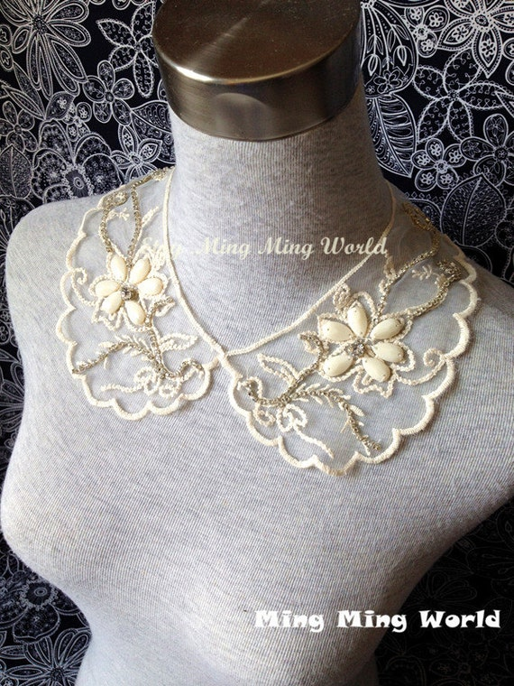Vintage Jewelry and Pearl Organza Embroidered Necklace or Handmade Collar(A140)