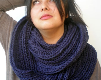 Navy Rib Chunky Rib Circle Scarf Hand Knit Circle Scarf  Woman Scarf NEW
