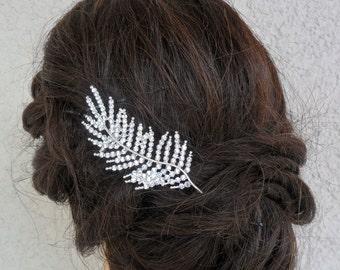 Rhinestone Hair Comb, Wedding Hairpiece, Bridal Hair Comb, Wedding Hair Accessory, Rhinestone Leaf Hair Comb, READY TO SHIP, Vintage Wedding