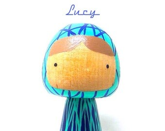 Wooden Peg Doll Kokeshi Blue Lines Art Doll, Lucy