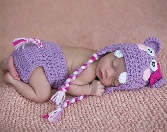 hippo set, crochet hippo set, crochet newborn hat, newborn hat, girls newborn hat, baby hat, photo prop, newborn earflap hat, earflap hat