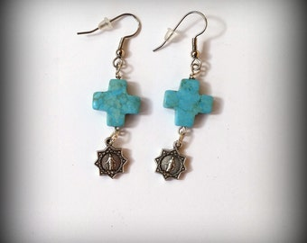 Turquoise Stone Cross Earrings - Miraculous Medal - Turquoise Cowgirl Earrings