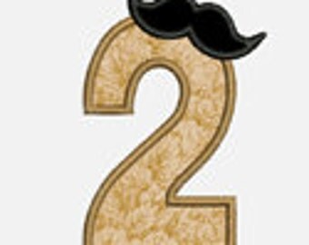 Mustache  Numbers 0-9...Embroidery Applique Design...Two sizes for multiple hoops...Item 1573...INSTANT DOWNLOAD