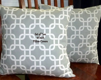 Decorative Throw Pillows. Accent Pillows, Pillow Covers -  Set of Two 18 Inch - Grey and White
