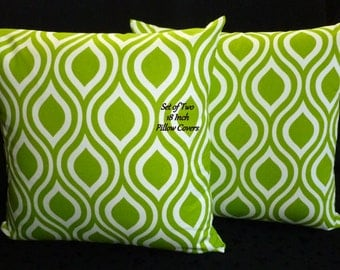 Decorative Pillows, Pillow Covers, Throw Pillows -  Chartreuse and White - Set of Two 18 Inch