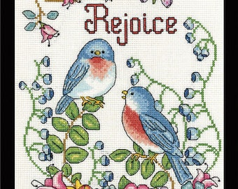 Cross Stitch Kit - REJOICE - Design Works Birds Flowers Counted Cross Stitch Kit Needlework Kit Cross Stitch Birds Spring Cross Stitch