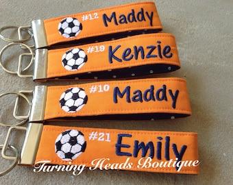 Personalized Sports Tag / Sports keychain / Monogrammed Key fob / Soccer bag tag /