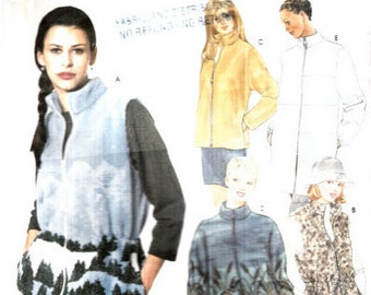 """Fleece Jacket Sewing Pattern 80s Women's Vest with Draw String Waist Quilted Coat Bust 30.5 to 38"""" (78 to 97 cm) Simplicity 9409  S"""