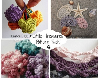 Crochet PDF Pattern Discount Pack - 4  Patterns,Easter egg basket, sea shells,flower headband,bohemian necklaces