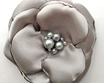 Platinum Silver Flower Brooch or Hair Pin
