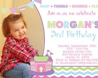 BOUNCE HOUSE 5x7 Photo Birthday Party Invitation - Girl Printable