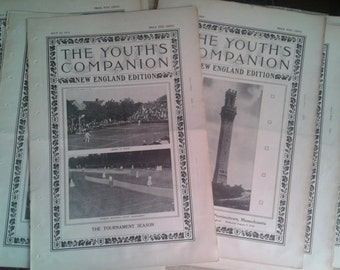 8 Issues of The Youth's Companion Magazine 1910