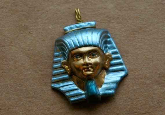 Hand-painted Wire-wrapped Pharoah Pendant