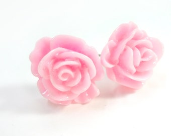 Retro Style Light Pink Rose Earring Posts