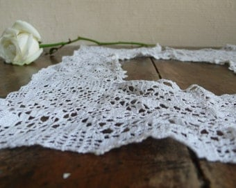 White Lace Collar, Handmade Antique , supplies and crafts, French handwork, delicate accessory, seamstress present, antique french fashion