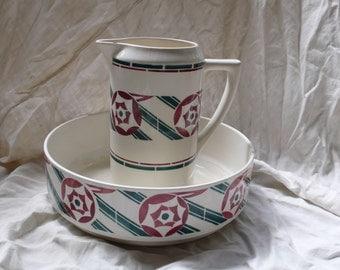 Badonviller Antique Toilet Set, Bathroom pitcher, Large Ceramic Vase, , 1900 Basin Decor, green and red bathroom deco, Art deco jug and bowl