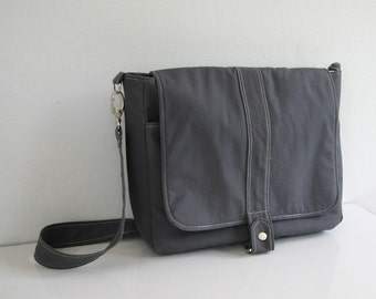 Men Messenger Bag in Gray, Water-resistant liner, Shoulder bag, Cross body bag, Travel Purse, Everyday bag, School bag, Work bag - Kiyomi