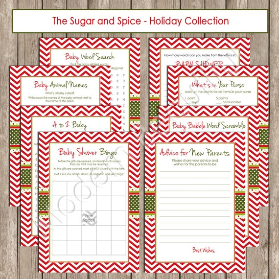 Christmas Baby Shower Game Pack Chevron baby shower games