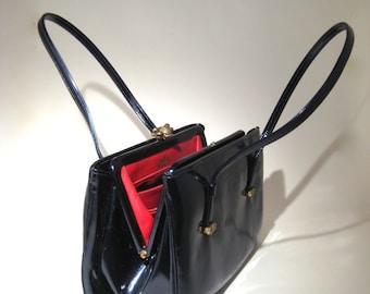 Vintage Rosart Bag - Blue Patent Leather/Vinyl