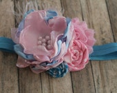 Baby blue and baby pink Headband with pearls, lace and feathers  for newborn  toddler  child  girl