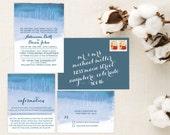 Watercolor Cityscape Wedding Invitations. Wedding Invitations. Wedding Invitation. Wedding Favors. Wedding Menu. Wedding Programs. Paper.