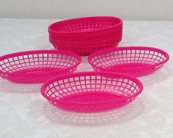 Pink Food Baskets, Set of 12, Food Trays, Hot Pink Basket Food Tray, Shower, Party, Picnic, Pink Party