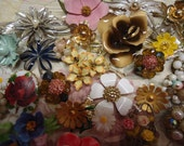 Reserved karen Vintage Brooch Lot Massive Flowers Enamel Beaded Earrings Sets Signed Wedding Bouquet Jewelry