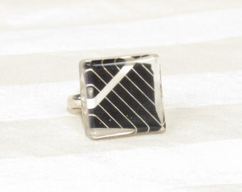 Silver Solar Panel Ring Black Square