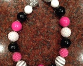 Children's Black and Pink Chunky Bead Necklace