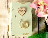 Wedding ring box engagement ring book personalized date name initials ring wedding box wooden heart
