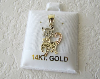 Solid 14K gold Cat /Kitten Pendant, Black Hills Gold Pendant, three tone gold pendant