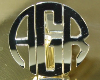cuff links  3 initial monogram  all sterling silver .