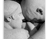 Romantic Europe Photography, love family romance forever couple statues - Lovers' Embrace - Fine Art Photograph B&W or Sepia