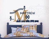 Train decal set personalized with name and initial