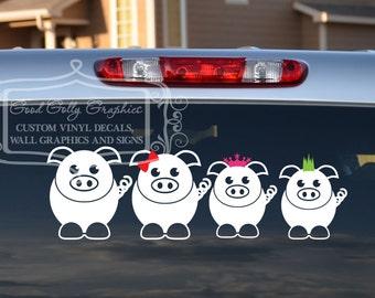 Pig family vinyl vehicle decal