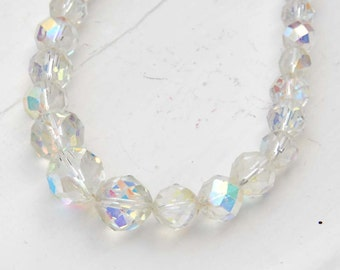 Crystal Bead Necklace Vintage Wedding Necklace Aurora Borealis Beaded Necklace Choker Necklace Great For Vintage Style Weddings Gift for Mom