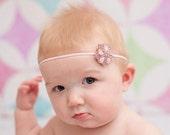 Pink Sparkle Headband, Baby Headband, Princess Headband, Pink Crystal Headband Photo Props