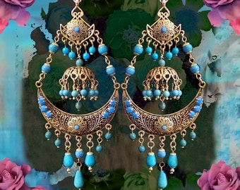 Exotic Turquoise Gemstone Gypsy Chandelier Earrings, Bollywood Indian Bridal Earrings, Ethnic Jewelry, Large Statement, Gold or Silver
