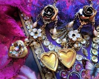 Floral Brass Heart Locket Victorian Mourning Earrings, Purple Lace Chandelier Earrings, Delicate Roses, Personalized  Photo Keepsake Jewelry