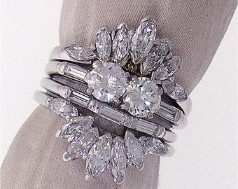 Vintage Diamond Engagement Ring with Diamond Jacket, TW 2.35cts
