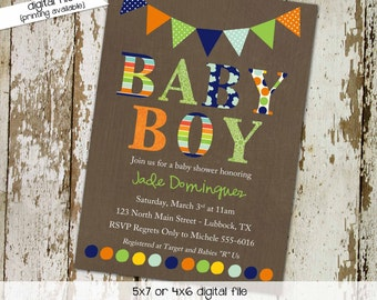 baby boy shower invitation baptism high tea shower baby sprinkle diaper couples coed evite christening (item 1232) shabby chic invitations